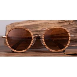 Sluneční Dřevěné Brýle – Round (Unisex)