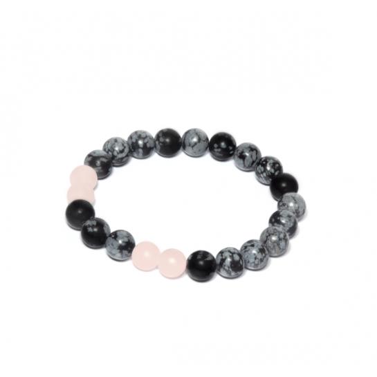 Náramek z Minerálů - Obsidián / Růženín